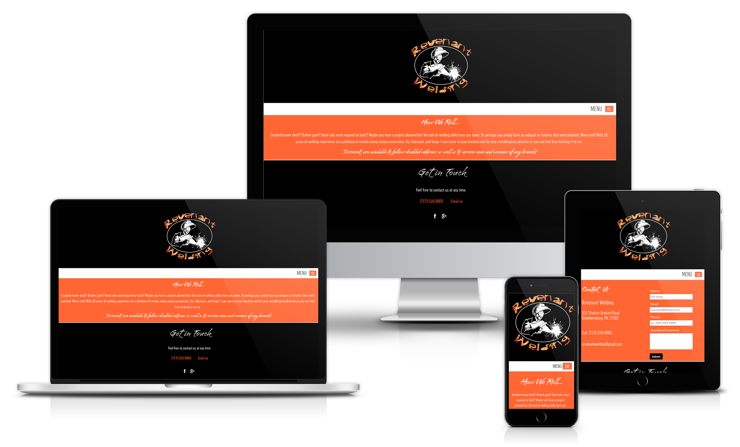 Revenant Welding website design, chambersburg pa welder - HeadAche Designs